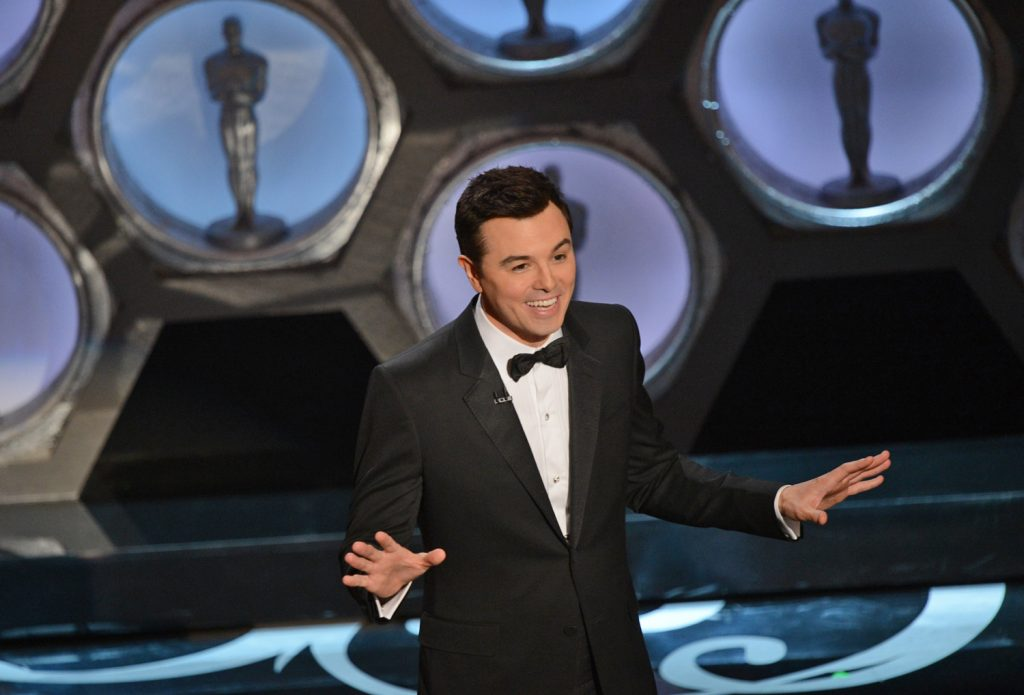 Host Seth MacFarlane speaks onstage at the 85th Annual Academy Awards on February 24, 2013 in Hollywood, California. AFP PHOTO/Robyn BECKROBYN BECK/AFP/Getty Images