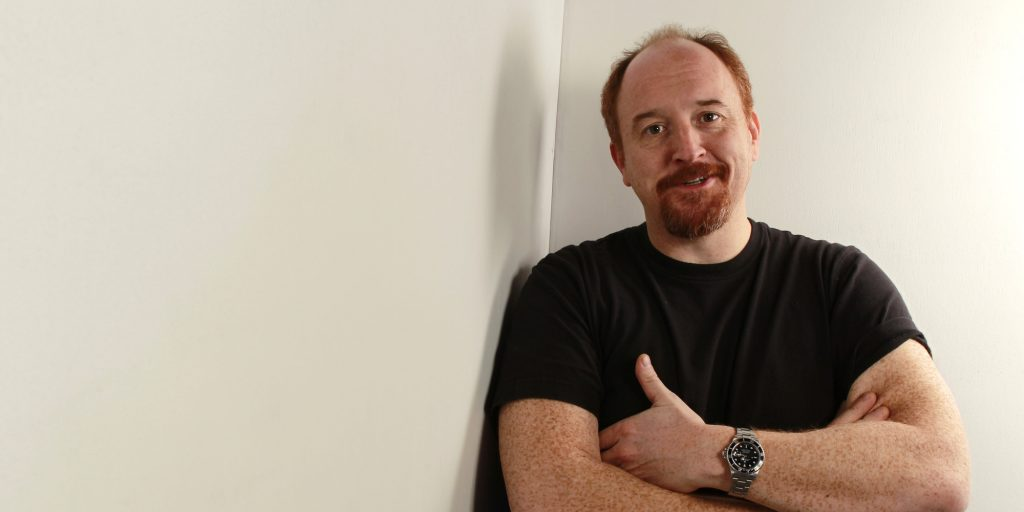 Comedian Louis CK poses for a portrait at the Gibson Guitar Lounge during the Sundance Film Festival in Park City, Utah on Wednesday, Jan. 27, 2010. (AP Photo/Carlo Allegri)