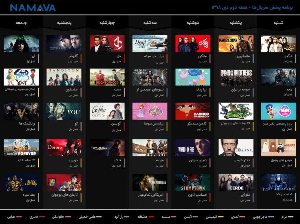 برنامه پخش سریالهای نماوا هفته دوم دی